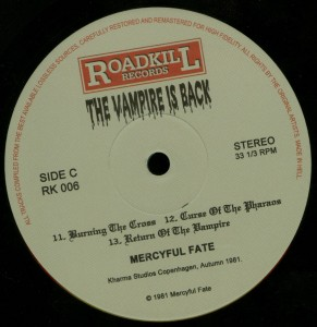 Mercyful Fate The Vampire Is Back Black Vinyl LP label side c