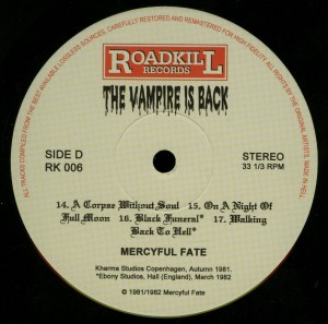 Mercyful Fate The Vampire Is Back Black Vinyl LP label side d