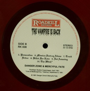 Mercyful Fate The Vampire Is Back Red Vinyl LP label side b