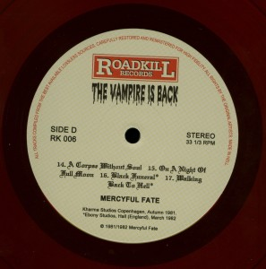 Mercyful Fate The Vampire Is Back Red Vinyl LP label side d