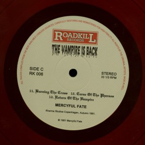 Mercyful Fate The Vampire Is Back Red Vinyl LP labels side c