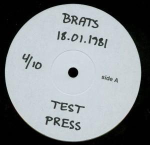 Brats 18.01.1981 Test Pressing LP label side a