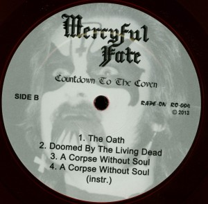 Mercyful Fate Countdown To The Coven Red Vinyl LP label side b