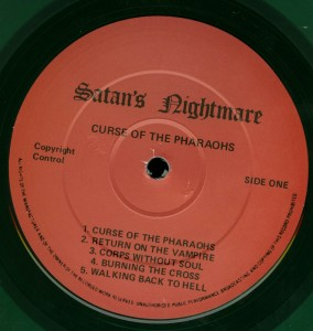Mercyful Fate Curse Of The Pharoahs Green Vinyl LP label side a