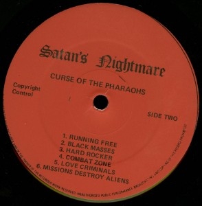 Mercyful Fate Curse Of The Pharoahs LP label side b