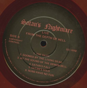 Mercyful Fate Live From The Depths Of Hell Red Vinyl LP label side b
