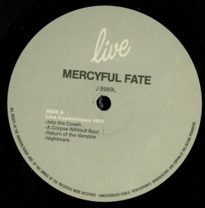 Mercyful Fate Live LP label side a