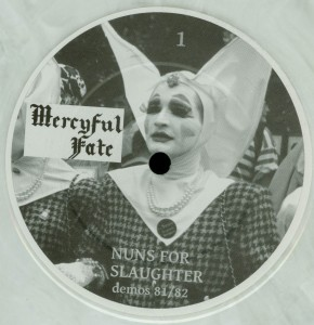 Mercyful Fate Nuns For Slaughter White Vinyl LP label side a