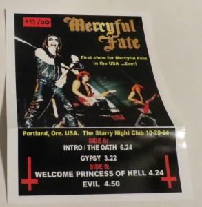 Mercyful Fate Portland 84 10 Inch Acetate insert