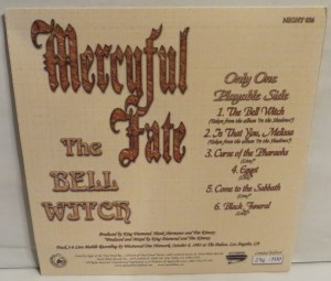 Mercyful Fate The Bell Witch Etched Vinyl LP back