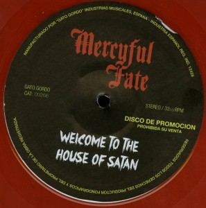 Mercyful Fate Welcome To The House Of Satan Red Vinyl Promo Label LP label side b