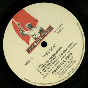 Mercyful Fate Melissa Music For Nations  Mispress A-side on both sides label side a