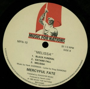 Mercyful Fate Melissa Music For Nations  Mispress A-side on both sides label side b