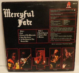 Mercyful Fate Melissa Music For Nations Mispress A-side on both sides lp back