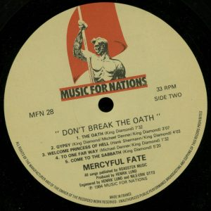 Mercyful Fate Don't Break the Oath MFN France b side