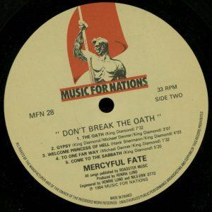 Mercyful Fate Don't Break the Oath MFN France b side
