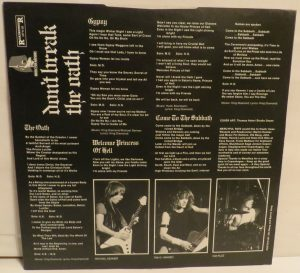 Mercyful Fate Don't Break the Oath MFN France insert back