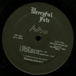 Mercyful Fate Melissa Megaforce Black Label a side