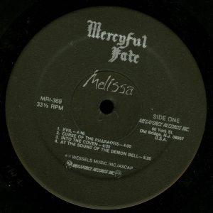 Mercyful Fate Melissa Megaforce Black Label a side