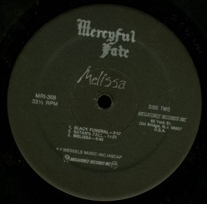Mercyful Fate Melissa Megaforce Black Label b side