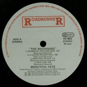 Mercyful Fate The Beginning Spanish promo sheet a side