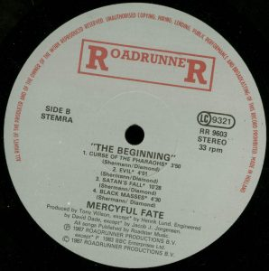 Mercyful Fate The Beginning Spanish promo sheet b side